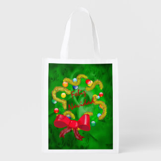 Arty Christmas Wreath with Green Background Reusable Grocery Bag
