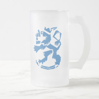Arty Lion Frosted Glass Mug