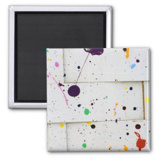 Arty Paint Splatter Dots Colorful Woven Wood Fence 2 Inch Square Magnet