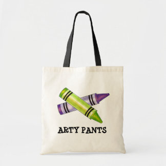 Arty Pants Artist Teacher Crayons Drawing Tote Budget Tote Bag