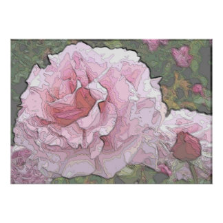 Arty Pink Rose Print
