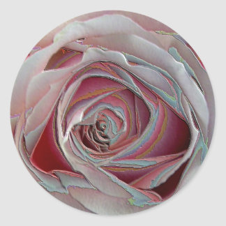 arty pinky rose classic round sticker