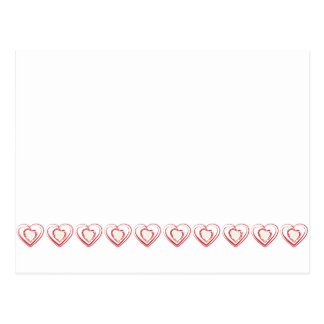 Arty Red Heart Row Postcard