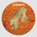 Arty Scandinavia Map Educational Gift Round Stickers