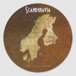 Arty Scandinavia Map Educational Gift Round Sticker