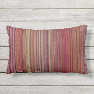 Arty Stripe Dark Multicolor Outdoor Lumbar Pillow