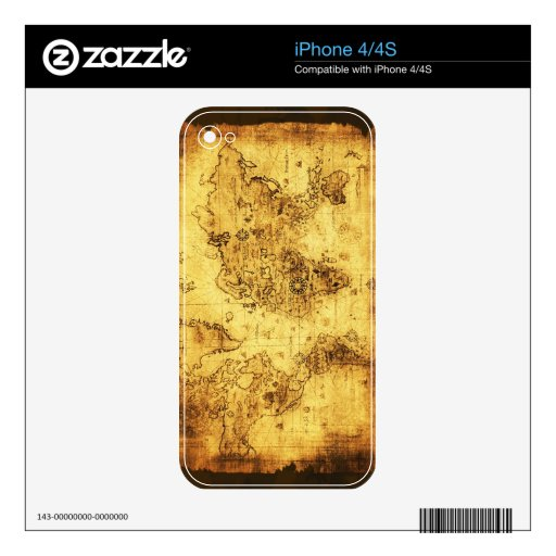 Arty Vintage Old World Map iPhone 4 Skins