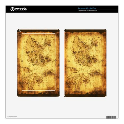 Arty Vintage Old World Map Kindle Fire Skin