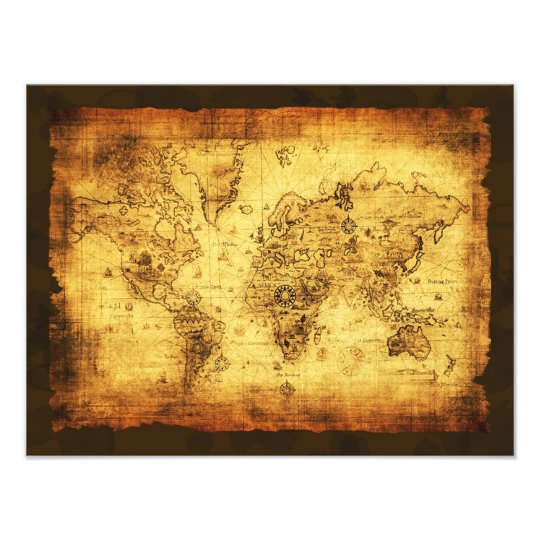 Arty Vintage Old World Map Print