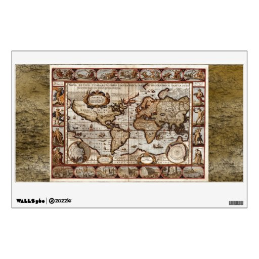 Arty Vintage Old World Map Wall or Window Decal Room Decals