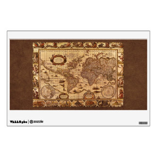 Arty Vintage Old World Map Wall or Window Decal Wall Graphics