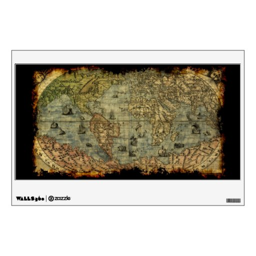 Arty Vintage Old World Map Wall or Window Decal Wall Stickers