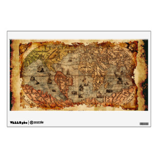 Arty Vintage Old World Map Wall or Window Decal Room Stickers