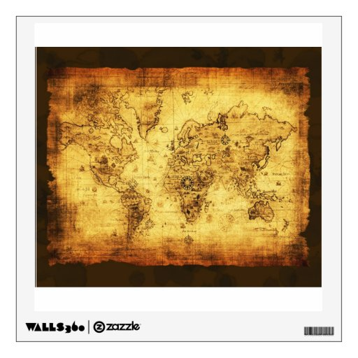 Arty Vintage Old World Map Wall or Window Decal Room Graphics