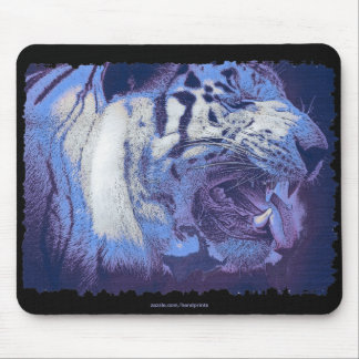 Arty White Tiger Wild Animal Big Cat Mouse Pad