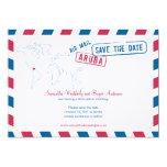 Aruba Air Mail Wedding Save The Date 5x7 Paper Invitation Card
