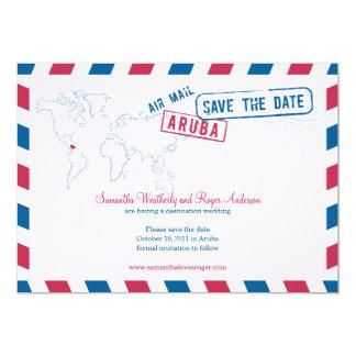 Aruba Air Mail Wedding Save The Date Card