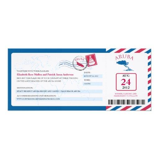 "Aruba Airmail Boarding Pass iWedding  Invitation 4"" X 9.25"" Invitation Card"
