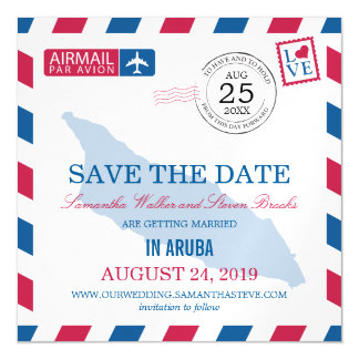 Aruba Airmail Save the Date Magnetic Card
