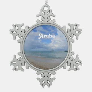 Aruba Beach Snowflake Pewter Christmas Ornament
