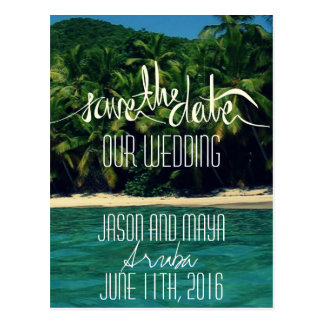 Aruba Beach Wedding Save The Date Postcards