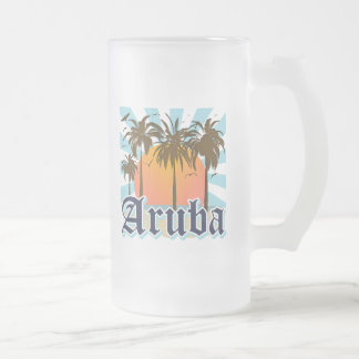 Aruba Beaches Sunset 16 Oz Frosted Glass Beer Mug