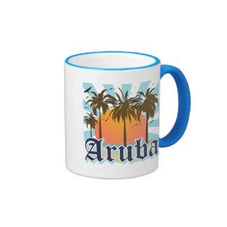 Aruba Beaches Sunset Ringer Mug