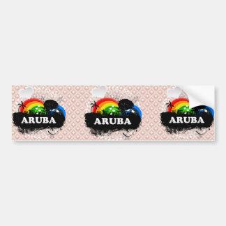 Aruba con sabor a fruta lindo etiqueta de parachoque