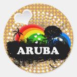 Aruba con sabor a fruta lindo etiquetas redondas