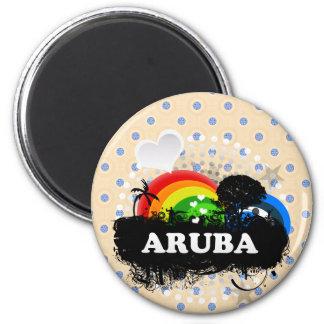 Aruba con sabor a fruta lindo imán redondo 5 cm