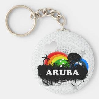 Aruba con sabor a fruta lindo llavero redondo tipo pin