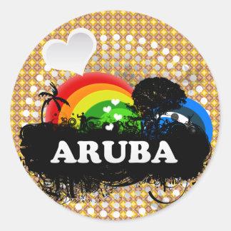 Aruba con sabor a fruta lindo pegatina redonda