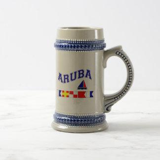 Aruba (deletreo marítimo de la bandera) jarra de cerveza