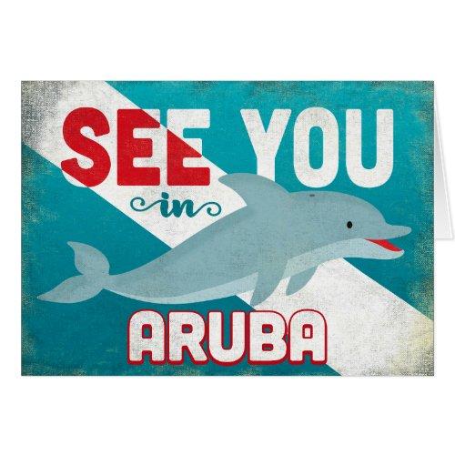 Aruba Dolphin - Retro Vintage Travel