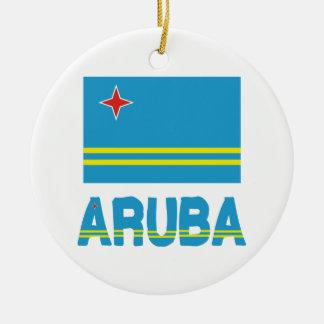 Aruba Flag and Word Christmas Tree Ornaments