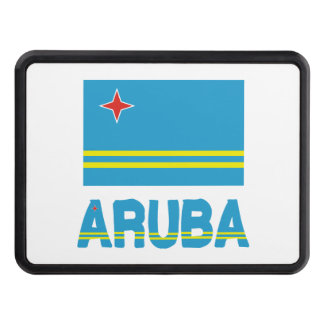 Aruba Flag and Word Tow Hitch Cover