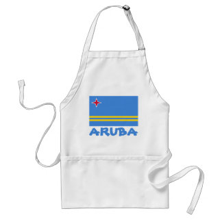 Aruba Flag Customizable Blue Text Adult Apron