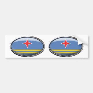 Aruba Flag Glass Oval Bumper Sticker