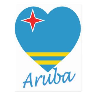 Aruba Flag Heart Postcard