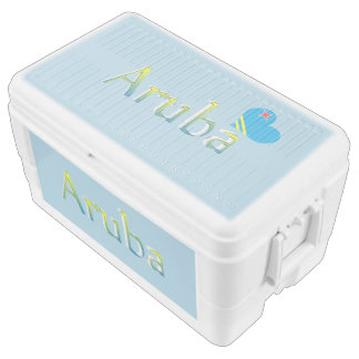 Aruba flag in heart shape with Aruba text Chest Cooler