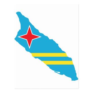 Aruba flag map postcard