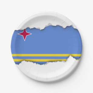 Aruba flag paper plate