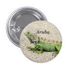 Aruba Green Iguana 1 Inch Round Button
