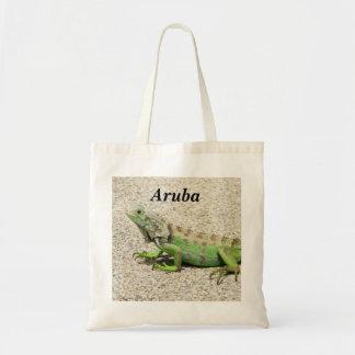 Aruba Green Iguana Tote Bags