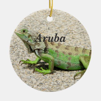 Aruba Green Iguana Ceramic Ornament