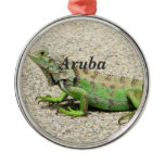 Aruba Green Iguana Metal Ornament