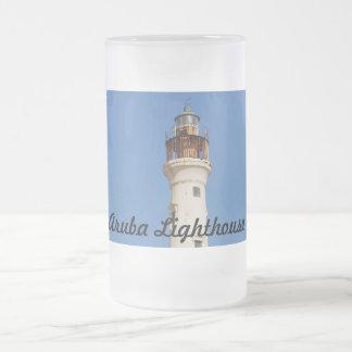 Aruba Lighthouse 16 Oz Frosted Glass Beer Mug