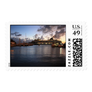 Aruba Marina with Cruiseship Postage