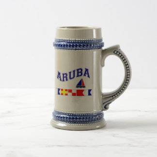 Aruba (Maritime Flag Spelling) Beer Stein