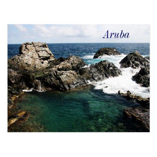 aruba, natural pool post card